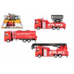 Obrázek Auto hasiči kov/plast 21-23cm na zpětné natažení 3 druhy 6ks v boxu