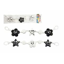 Obrázek Řetěz/zábrana kytička,hvězdička plast 45cm černobílá v sáčku 0+