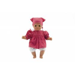 Obrázek Bábika / Bábätko Hamiro 30cm, látkové telo šaty červené + biely puntík + šatka