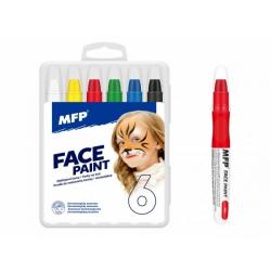 Obrázek Barvy na obličej a tělo 6ks v krabičce 11x14cm karneval