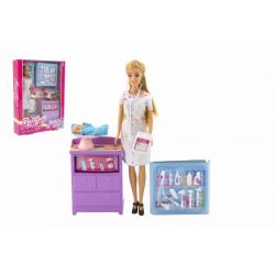 Obrázek Panenka Anlily dětská doktorka kloubová 30cm plast s miminkem s doplňky v krabici 24x32x6cm
