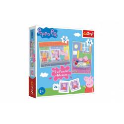 Obrázek Puzzle 2v1 + pexeso Prasátko Peppa/Peppa Pig 27,5x20,5cm v krabici 28x28x6cm