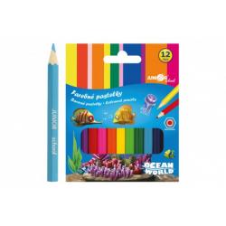 Obrázek Pastelky barevné dřevo krátké Ocean World šestihranné 12 ks v krabičce 9x11,5x1cm 12ks v krabici