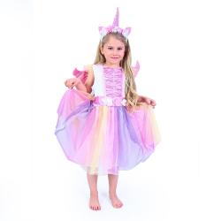 Obrázek Dětský kostým jednorožec s čelenkou a křídly (M)