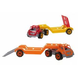 Obrázek Auto kamion přepravník/odtahovka plast 65cm na volný chod 2 barvy v síťce