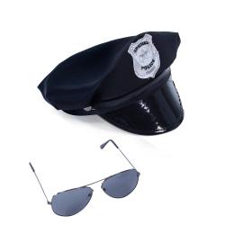Obrázek Sada policejní čepice s brýlemi pro dospělé