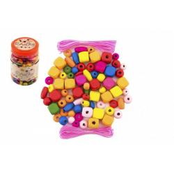 Obrázek Korálky dřevěné barevné s gumičkami cca 300ks v plastové dóze 7x11cm