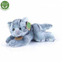 Obrázek Plyšová kočka šedá ležící 30 cm ECO-FRIENDLY