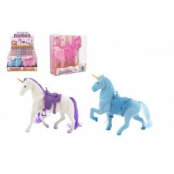 Obrázek Jednorožec kůň fliška se sedlem 16cm 3 barvy v krabičce 16x17x5,5cm 12ks v boxu