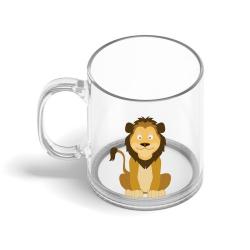 Obrázek Skleněný hrnek Veselá zvířátka - Lvíček