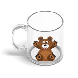 Obrázek Skleněný hrnek Veselá zvířátka - Medvídek