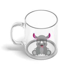 Obrázek Skleněný hrnek Veselá zvířátka - Nosorožec