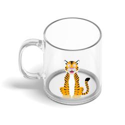 Obrázek Skleněný hrnek Veselá zvířátka - Tygřík
