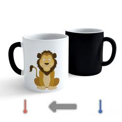 Obrázek Měnící hrnek Veselá zvířátka - Lvíček