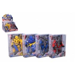 Obrázek Robot bojovník skládací plast 17 cm 4 barvy v krabičce 15x20,5x6cm 8ks v boxu