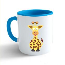Obrázek Hrnek Veselá zvířátka - Žirafa - modrý 330ml