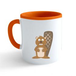 Obrázek Hrnek Veselá zvířátka - Bobr - oranžový 330ml