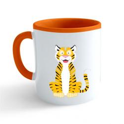 Obrázek Hrnček Veselá zvieratká - Tigrík - oranžový 330ml