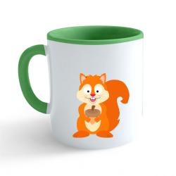 Obrázek Hrnek Veselá zvířátka - Veverka - zelený 330ml