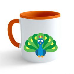 Obrázek Hrnek Veselá zvířátka - Páv - oranžový 330ml