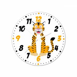 Obrázek Nástěnné hodiny Veselá zvířátka - Tygřík 20cm