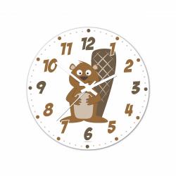 Obrázek Nástenné hodiny Veselá zvieratká - Bobor - 30 cm