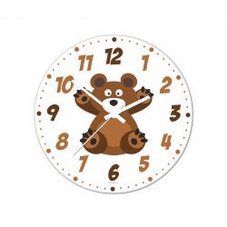Obrázek Nástenné hodiny Veselá zvieratká - Medvídek - 30 cm