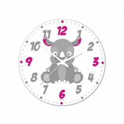 Obrázek Nástenné hodiny Veselá zvieratká - Nosorožec - 20 cm