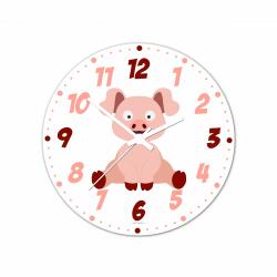Obrázek Nástěnné hodiny Veselá zvířátka - Prasátko 30cm