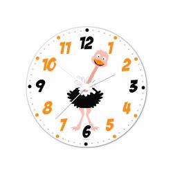 Obrázek Nástěnné hodiny Veselá zvířátka - Pštros 30cm