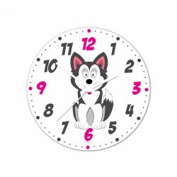 Obrázek Nástěnné hodiny Veselá zvířátka - Husky 20cm