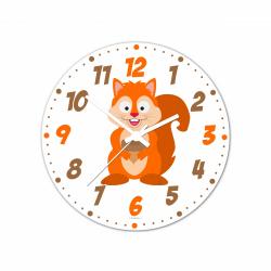 Obrázek Nástenné hodiny Veselá zvieratká - Veverka - 30 cm