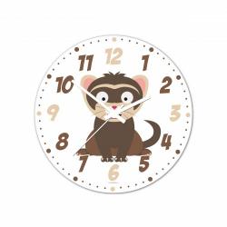 Obrázek Nástenné hodiny Veselá zvieratká - Fretka - 30 cm