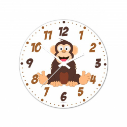 Obrázek Nástenné hodiny Veselá zvieratká - Šimpanz - 20 cm