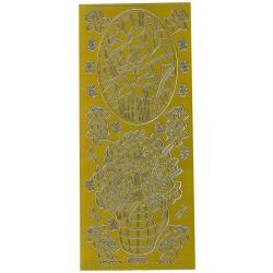 Obrázek Obrysové samolepky- Květiny v květináči  - zlaté