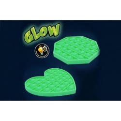 Obrázek Bubble pops - Praskající bubliny silikon svítící ve tmě antistresová spol. hra 12,5x12,5cm v sáčku
