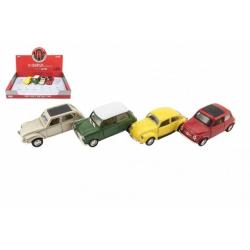 Obrázek Auto retro 11cm kov/plast na baterie se světlem na zpětné natažení mix druhů 12ks v boxu