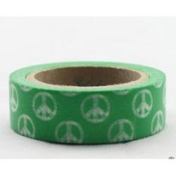 Obrázek Dekorační lepicí páska - WASHI tape-1ks zelené hippies