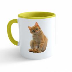 Obrázek Hrnek Malovaná zvířátka - Kočička - žlutý 330ml
