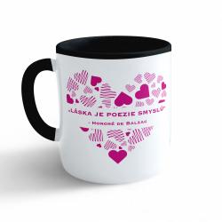Obrázek Hrnek Valentýn - Láska je poezie smyslů #3 - černý 330ml