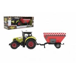 Obrázek Traktor s vlekem plast 28cm na setrvačník na baterie se zvukem se světlem v krabici 34x13x11cm
