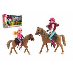 Obrázek Kůň 2ks + panenka žokejka 2ks plast v krabici 44x26x12cm