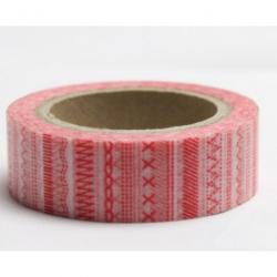 Obrázek Dekorační lepicí páska - WASHI pásky-1ks vyšívací stehy červené
