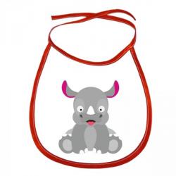 Obrázek Dětský bryndák Veselá zvířátka - Nosorožec - červený