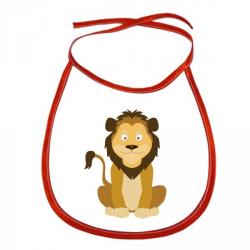 Obrázek Dětský bryndák Veselá zvířátka - Lvíček - červený