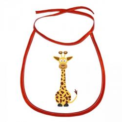 Obrázek Dětský bryndák Veselá zvířátka - Žirafa - červený