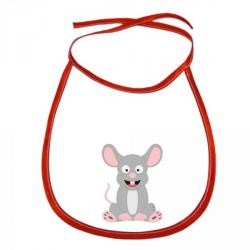 Obrázek Dětský bryndák Veselá zvířátka - Myška - červený