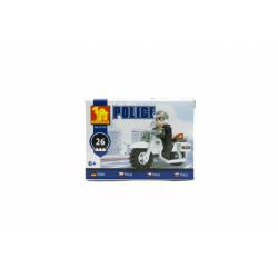 Obrázek Stavebnice Dromader Policie Motorka 26ks  10x7x4,5cm