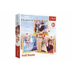 Obrázek Puzzle 3v1 Ledové království II/Frozen II 20x19,5cm v krabici 28x28x6cm