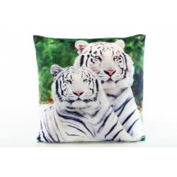 Obrázek Polštářek 33 x 33 cm bílý tygr